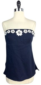 J.Crew short dress Blue Navy Floral Emboidered Cotton Tube on Tradesy
