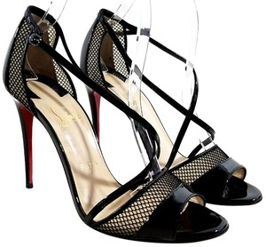 Christian Louboutin Mesh And Patent Peep-toe Crisscross Vamp Made In Italy Pin-thin Heel Black Sandals