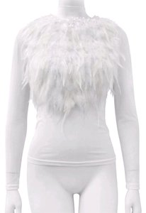 Gracia Fur Mesh Bodysuit Top White