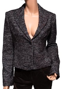 BCBGMAXAZRIA Wool Blend Tweed Lined Brown Blazer