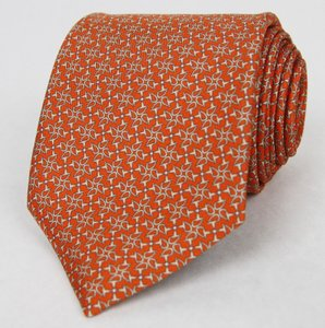Gucci Men's Orange Floral Silk Tie With Horsebit Print 352617 7563