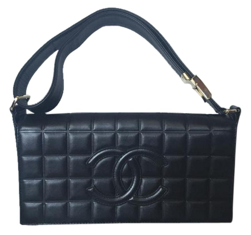 47aa9595f0d13b Chanel Chocolate Bar with Gold Hardware and Adjustable Strap Black ...