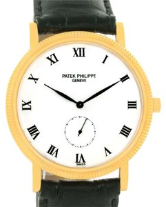 Patek Philippe Patek Philippe Calatrava 18k Yellow Gold Black Strap Mens Watch 3919