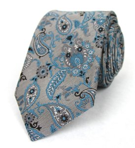 Gucci Men's Gray Blue Silk Twill Floral Tie W/paisley Print 336444 1569