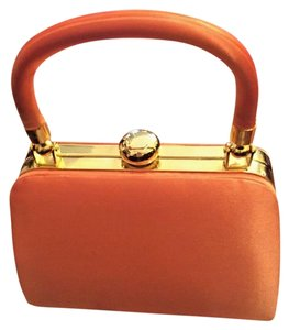 Vanessa Bruno Vanessa Satin Vintage Petite W Gold Chain Strap Orange Clutch