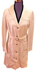 Tocca Linen Blend Belted Trench Trench Coat
