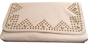 Big Buddha Faux Leather Gold Studded White Clutch
