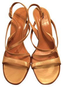 Max Mara Gold Leather Strappy Sandals Multi-Color Pumps