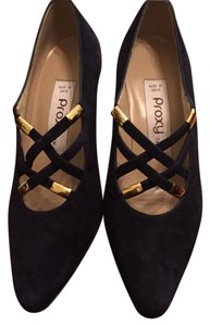 Proxy Suede With Gold Accents Criss Cross Straps Blue Pumps