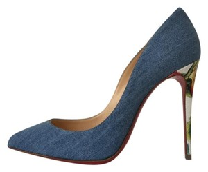 Christian Louboutin Pigalle Follies Denim Jean White Hawaiian Blue Pumps
