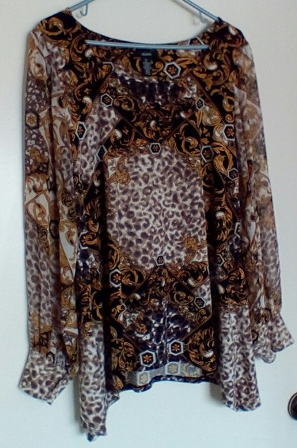 Alfani Top Multi brown and black Image 4