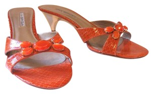 Via Spiga Jeweled Sandals Slides Orange Mules
