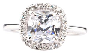 New 3.40ct Simulated Diamond Cushion 14K White Gold Ring
