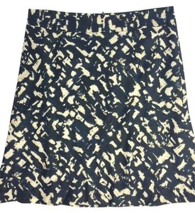 Ann Taylor Blue Printed Skirt Black