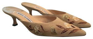 Manolo Blahnik Cream (Brown, tan & white embroidery) Mules