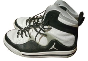 Air Jordan Leather Black and White Athletic