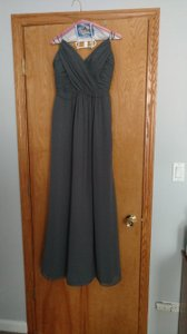 Jim Hjelm Occasions Slate Grey Draped V-neck A-line Chiffon Gown Dress