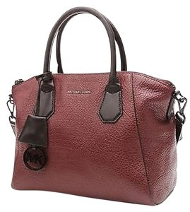 Michael Kors Leather Campbell Satchel in Burgundy/ Black