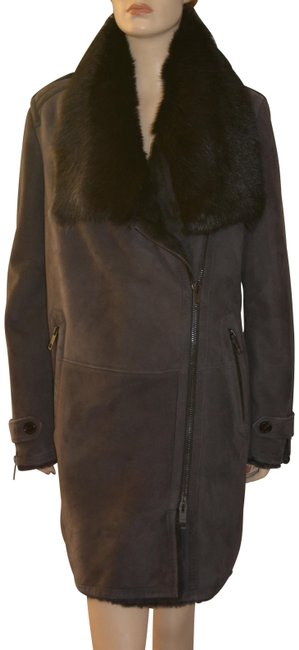 Burberry Charcoal Genuine Shearling Leather Jacket Eu 44 Coat Size 10 (M) Burberry Charcoal Genuine Shearling Leather Jacket Eu 44 Coat Size 10 (M) Image 2