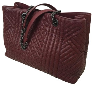 Bottega Veneta Leather Woven Burgandy Tote in Barolo (Burgandy)