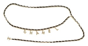Chanel Chanel charms leather silver belt necklace