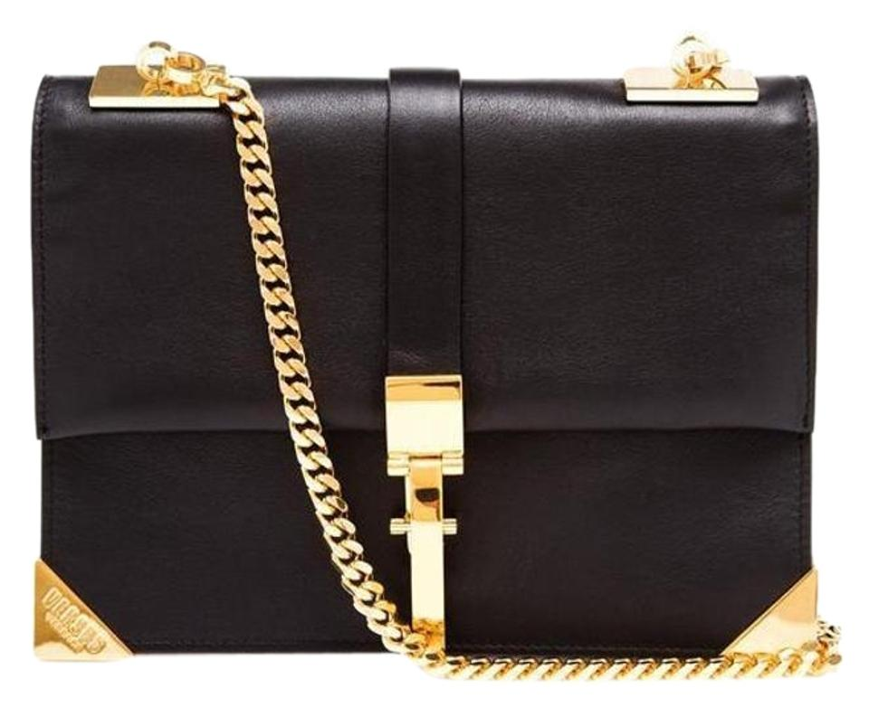 992cc7593761 Versace Versus Anthony Vaccarello Gold Chain Black Leather Tote ...