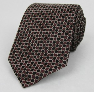 Gucci Men's Burgundy Woven Silk Neck Tie With Black Dot Print 351802 6260