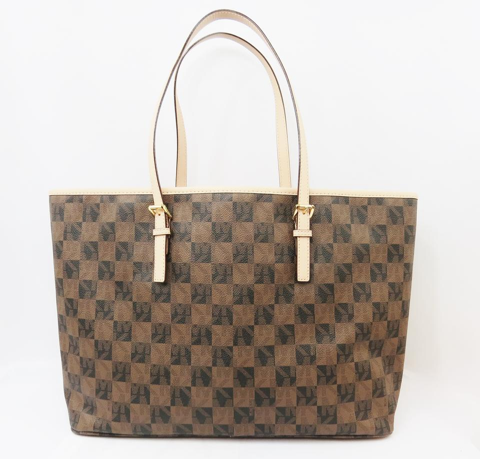df842f56a1da Michael Kors Jet Set Checkerboard Multi-function Medium Brown Pvc ...