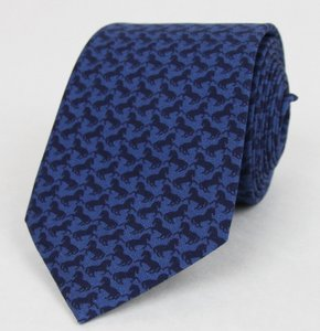 Gucci Gucci Men's Blue Silk Neck Tie With Horse Print 368250 4368