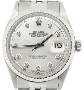Rolex Rolex Datejust Mens Stainless Steel Jubilee Watch With Silver Diamond Dial 1601