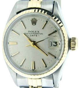 Rolex Vintage Rolex Date Ladies 2tone 14k Yellow Gold Steel Silver Dial 6517