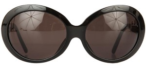 Versace Black Oval Sunglasses With Navy Blue Edging