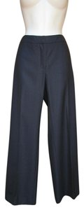 Max Mara Silk Wool Fall Trousers Lustrous Straight Pants Dark Blue