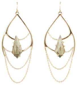 Alexis Bittar Large Gold With Green Stone Dangle Earrings