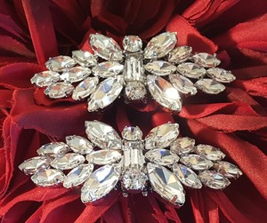 Gorgeous Silver Plated Rhinestone Wedding Shoe Clips