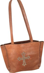 Two Bar West Studded Leather Tote in Brown
