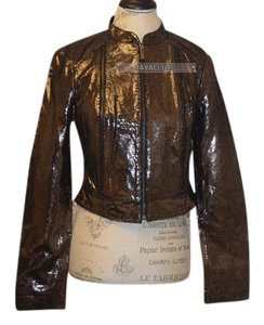 bebe Leather Foil Cognac Brown Leather Jacket