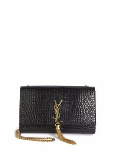 Saint Laurent Croc Gold Cross Body Bag