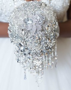 Crystal Silver White Wedding Brooch Bouquet.