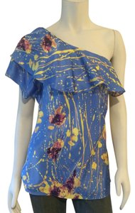 Elie Tahari Top Blue Yellow Purple