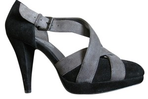 Banana Republic Suede Covered Platform Heel Black and Grey Pumps