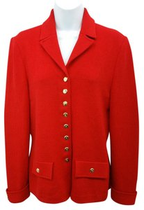 St. John Red Knit Jacket Blazer