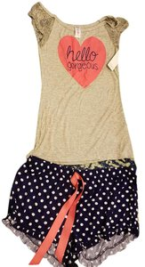 Sleep and Co. Pajamas Comfy T Shirt Grey pink shirt with Blue and white shorts