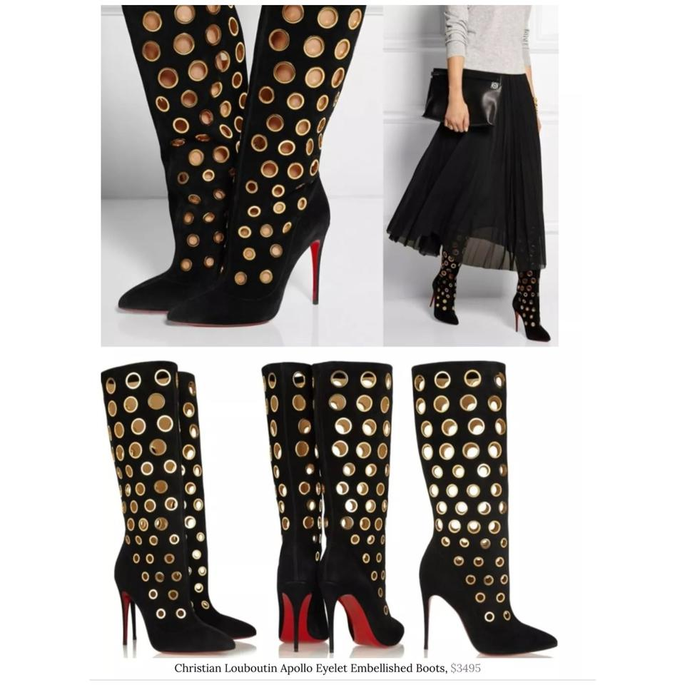 new style 65919 bb622 Christian Louboutin Black Apollo 100 Suede Gold Grommets Boots/Booties Size  EU 36 (Approx. US 6) Regular (M, B) 77% off retail