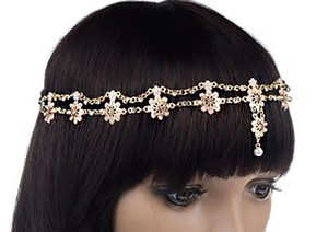 Bohemian Boho Gold And Pearls Head Chain Headband Headpiece Headdress Forehead Band