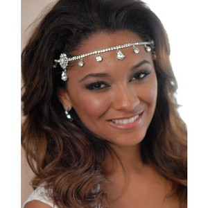 Rhinestones And Crystals Silver Head Chain Headband Headdress Headpiece Forehead Band Chain