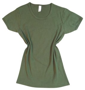 American Apparel Cotton Baby Rib T Shirt Military Green