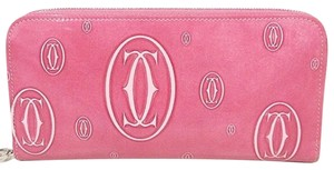 Cartier Pink Patent Leather Logo Continential