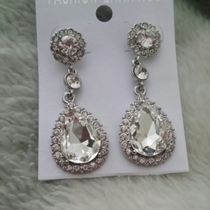 Clear Drop Crystal Cluster Prom Bridesmaid Cz Diamond Pave Stone Earrings