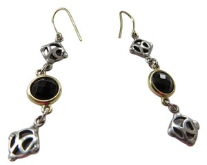 David Yurman Black Onyx DY Logo Drop Earrings; SS/18k